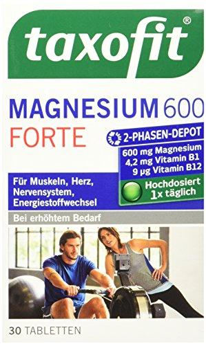 taxofit® Magnesium 600 FORTE Depot 30 Tabletten für Muskeln, Herz, Nerven und Energieleistung