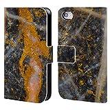 Head Case Designs Offizielle PLdesign Abstrakte Gold Weisse Linien Felsen Gewebe Und Funkel Brieftasche Handyhülle aus Leder für iPhone 4 / iPhone 4S