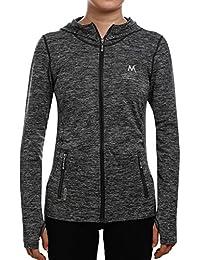 SEEU Women's Running Jacket, Long Sleeve Sports Shirts for Women with Full Zip Side Pocket