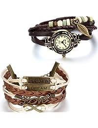 JewelryWe Retro Reloj Vintage de Mujer, Juego de Reloj con Pulsera Múlticapas, Brazalete de Cuero Trenzado, Reloj Pequeño para Chica, Estilo Boho Chic