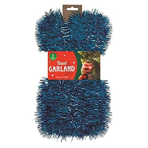 4x Blue Christmas Tinsel Garland Strand- 5m (20m in total)-