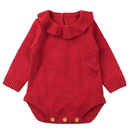 QUICKLYLY Mameluco Punto Invierno Recién Nacido Bebé Niño Niña Manga Larga Elástico Mono Peleles Ropa (Rojo, 18~24 Meses(100))