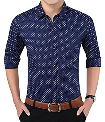 LionRoar Men's Polka Print Full Sleeves Formal Shirt (XS, Blue)