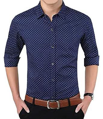 LionRoar Men's Polka Print Full Sleeves Formal Shirt (XS, Blue)