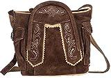 Trachten-Handtasche aus Echtleder, 15cm, braun