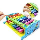 Xilofono Bambino Carillon per Bambini Giocattoli Educativi Colorati 2 in 1 Neonati con Tastiera Pianoforte Giocattolo di Legno Xylaphone Xilofono