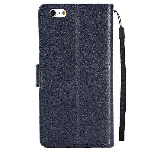 Classic Premiu PU Ledertasche, Horizontale Flip Stand Case Cover mit Cash & Card Slots & Lanyard & Soft TPU Interio Rückseite für iPhone 6 Plus & 6s Plus ( Color : Brown ) Darkblue