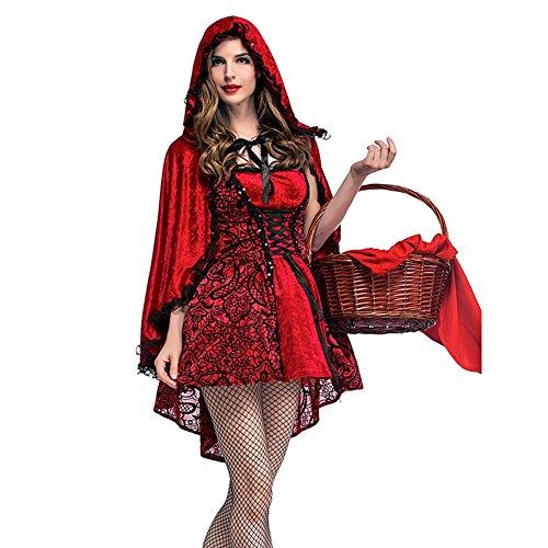 (One city center Damen Kostüm Rotkäppchen Königin Kostüm Cosplay Bühne Kleid mit Kapuze und Spitze Schal für Fasching Karneval Junggesellenabschied Weihnachten Performance)