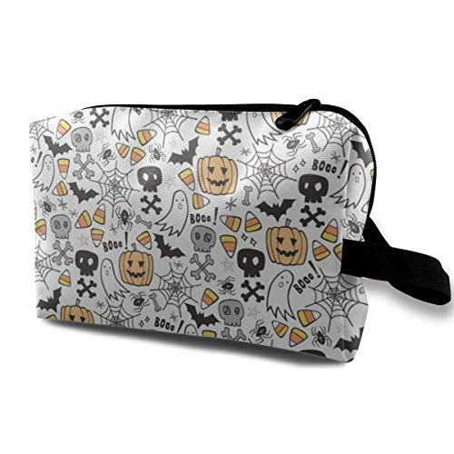 Halloween Doodle with Skulls Bat Pumpkin Spiderweb Ghost On White Travel Makeup Cute Cosmetic Case Organizer Portable Storage Bag for Women