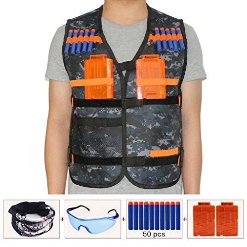 HONGCI Kinder Tarnung Taktische Weste Jacke Kit für Nerf Gun N-Strike Elite Series Sniper (kommt mit Gesichtsmaske + Schutzbrille + 50er 7.2cm Pfeile Nachfüllpack + 2er Magazin für 5-Pfeile)