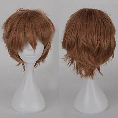 S-noilite® Kostüm Perücke Damen Mann Kurz Party Cosplay wig Kostueme Glatt Haar Wigs hellbraun (Brown Pferdeschwanz Perücke)