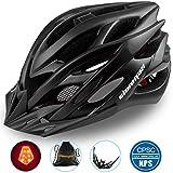 Shinmax Specializzata del Casco Bici con Luce Sicurezza Sport Regolabile Bicicletta Casco della Bici Caschi Bicicletta per Strada Bike Uomini Donne Età Gioventù Racing Protezione Sicurezza(Nero)