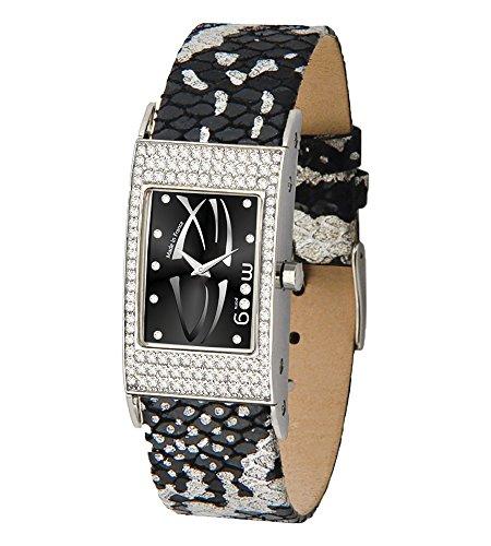 Moog Paris Vogue Women's Watch with Black Dial, Interchangable Silver & Black Strap in Genuine Leather - M44262-011