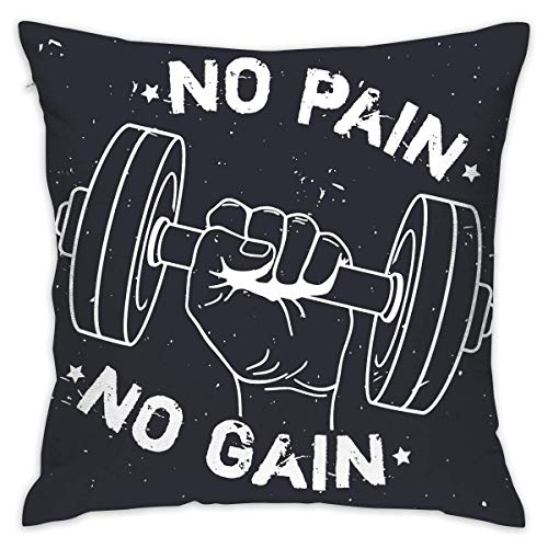 FPDecor Funda de Almohada, No Pain No Gain Soft Cushion Cover Chair 18 X 18 Inches