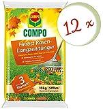 Oleanderhof® Sparset: 12 x COMPO Herbst Rasendünger mit Langzeitwirkung, 10 kg + gratis Oleanderhof Flyer