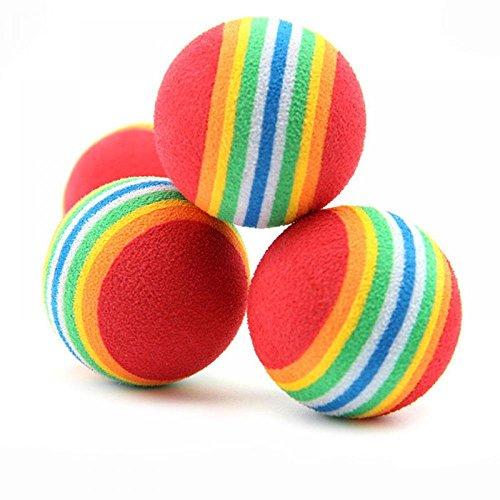 TXIN 10 Stück haltbarer Umwelt Schaum Schwamm Haustier Spielzeugbälle Regenbogen färbt Spielzeugbälle (Katze Federnd Spielzeug)