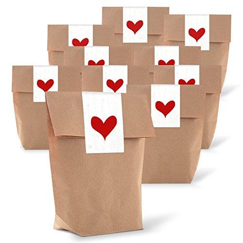 25 kleine braune Geschenktüten Papier-Tüten + Aufkleber Herz rot weiß 14 x 22 x 5,6 cm natürliche Verpackung give-away Weihnachten Geburtstag Kunden Hochzeit Valentinstag Muttertag Mitgebsel (Rote Papier-tüten Und Weiße)