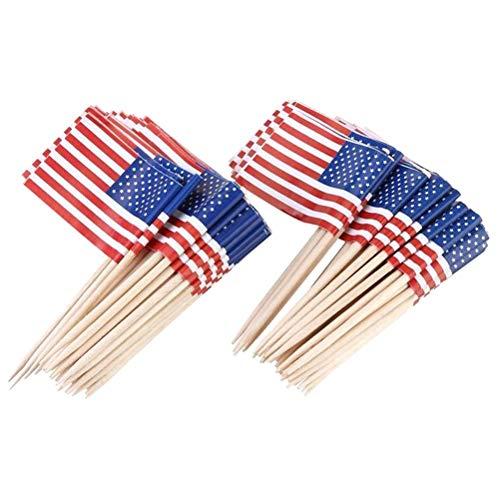 Amosfun 100 stücke Amerikanische Flagge Cake Topper Unabhängigkeitstag Kuchen Dekoration Fourth of July Party Supplies (65mm)