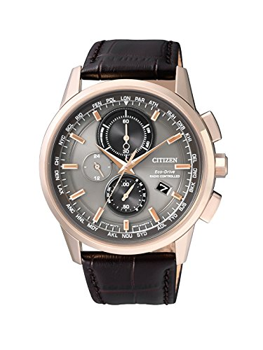 Citizen Herren-Armbanduhr Radio Controlled Chronograph Quarz Leder AT8113-12H