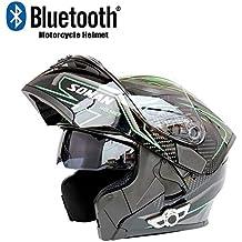 NOMEN Motocicleta Bluetooth Casco anticolisión Modular Casco-D.O.T certificación antivaho Doble Espejo Respuesta automática MP3