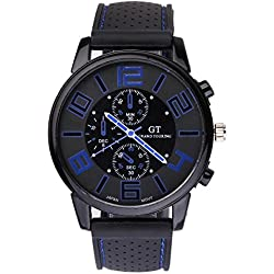 UniqueBella Lined Silicone Band Round Case Sport Watch with Blue Accents on Dial