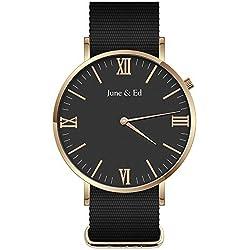 June & Ed Reloj de Cuarzo para Hombre, Acero Inoxidable con Ventana Cristal de Marcado, Negro