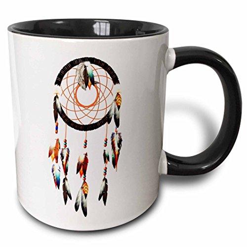 3dRose Diseño de atrapasueños Inspirado en los nativos Americanos, Plumas y Abalorios de Colores. -Taza de Dos Tonos, cerámica, Negro, 10,16 x 7,62 x 9,52 cm