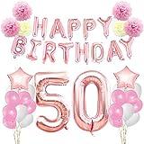 KUNGYO Zum 50. Geburtstag Party Dekorationen Kit Rose Gold Happy Birthday Banner-Riesen Zahl 50 Helium Folienballons, Bänder, Papier Pom Blumen, Latex Ballon, Alles Gute Zum Geburtstag für Frauen