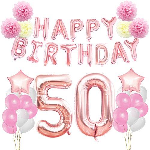 KUNGYO Zum 50. Geburtstag Party Dekorationen Kit-Rose Gold Happy Birthday Banner-Riesen Zahl 50 und Sterne Helium Folienballons, Bänder, Papier Pom Blumen, Latex Ballon, Alles Gute Zum Geburtstag für Frauen