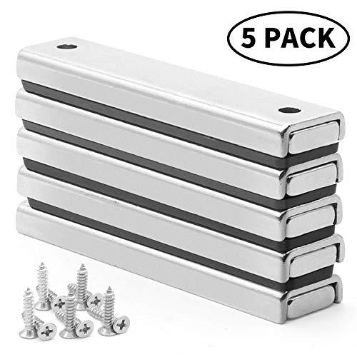 Rechteckig Starke Neodym Magnete, 5 Stück Super Stark neodymium Magneten, VISLAN Permanent Rare Earth Magnet, mit 10 Schrauben für Handwerk, Haltekraft 70lbs, 60x13.5x5mm - 5-unzen-stück