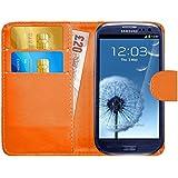Funda Galaxy S3, G-Shield Carcasa Libro de Cuero Con Tapa y Cartera [Ranuras para Tarjetas] [Cierre Magnético] Funda Billetera Case Cover Para Samsung Galaxy S3 - Naranja