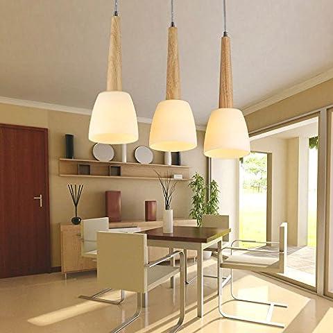 LIVY Tre semplici in legno da pranzo in legno tavolo da pranzo lampadario elegante lampadario pastorale decorativi lampadari pasto europea