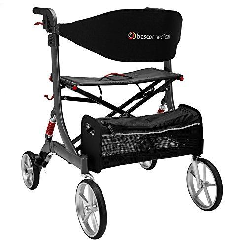 Besco Medical Faltbarer Alu-Leichtgewicht-Rollator Besco Medical Spring XL, mit Federung, kompletter Ausstattung, breiter Sitzfläche und hoher Belastbarkeit