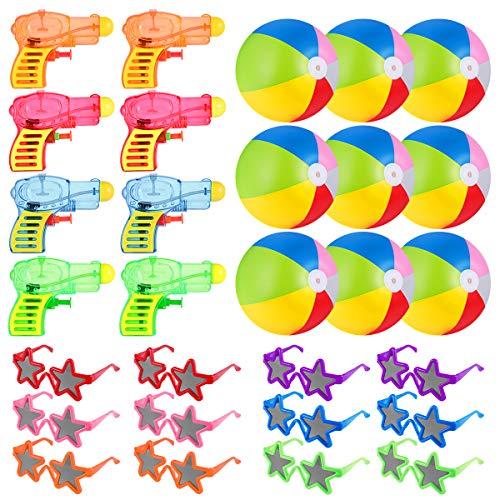 Toyvian Kinder Strand Spielzeug Sommer Party Spielen Schwimmbäder - Sonnenbrillen, aufblasbare Wasserbälle, Wasserpistole Squirts - Party Wasserspiel für Kinder