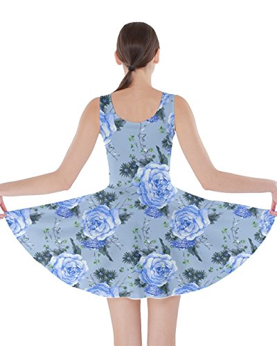 CowCow Womens Blue Roses Flowers Graphic Print Double Sided Skater Dress – 4XL