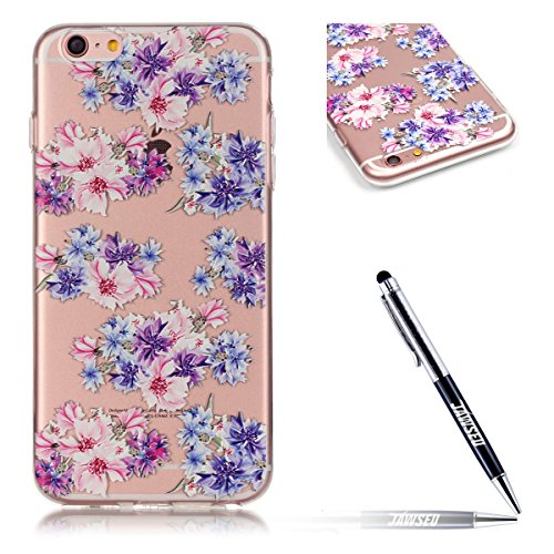 JAWSEU Coque pour iPhone 6 Plus/6S Plus 5.5,iPhone 6S Plus Silicone Etui Housse,iPhone 6 Plus Souple Coque Transparent Case TPU Cover Case,iPhone 6S Plus Housse Etui de Protection Femme Fille Relief P Une Fleur 5