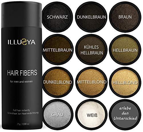 Illusya - fibre per capelli, hair fibers, polvere per capelli fatto di cotone, soluzione professionale per la perdita di capelli per donne e uomini prodotti migliori 25g (marrone scuro)