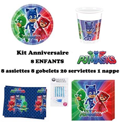 Kit PJ MASKS pyjamasques Anniversaire Complet 8 enfants (8 assiettes, 8 gobelets, 20 serviettes, 1 nappe, 10 bougies magiques offertes) fête