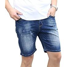 Heheja Hombre Talla Extra Elasticidad Denim Pantalones Cortos Verano Ocio Jean Shorts