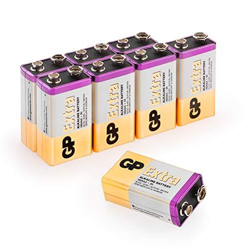 Batteria 9V (PP3, 6LR61, MN1604, E-Block - 9 Volt) - Confezione da 8 - Extra Alcaline di GP Batteries - Eccellente durata