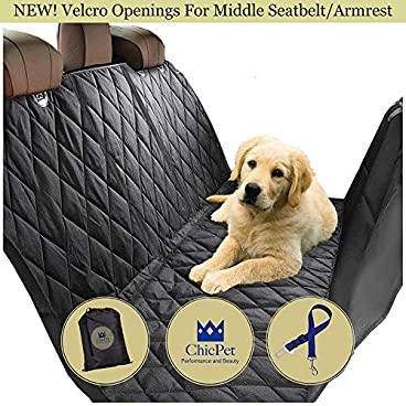 Dog Car Seat Cover, Boot Liner, Dog Hammock, For Pets and Kids with Pet Seat Belt Lead and Storage Bag Waterproof Washable Non Slip. All Cars Trucks SUVs Black. 2 Velcros for Middle Seat Belt+Armrest