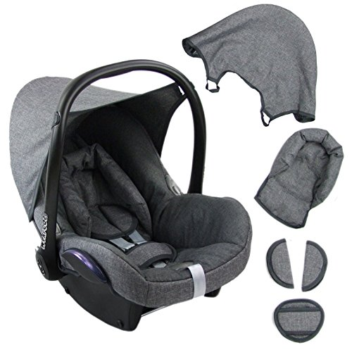 BambiniWelt Ersatzbezug für Maxi-Cosi CabrioFix 6 tlg. GRAU / GRAU *NEU* Bezug für Babyschale Sommerbezug Cabrio Fix