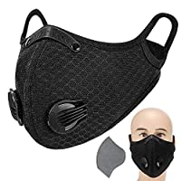 Irfora Adults Mouth Mask with Valve Active Carbon Filter Adjustable Safety Mask Reusable Breathing Valve Mask for Running Cycling Camping Traveling