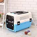 Xinnegen Portable Pet Carri For Large and Medium Animal Outdoor Breatable and Durable Airline Approved Transport Box,58.5 * 37.5 * 37CM (Color : Blue)