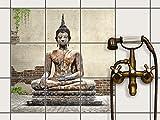 creatisto Küchenfolie, Küchen-Fliesen | Fliesentattoo Küche Bad Fliesenbild Badezimmerdeko | 20x20 cm Erholung Wellness Relaxing Buddha - 9 Stück