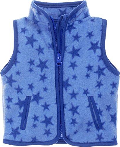 Schnizler Baby Fleece-Weste, ärmellose Unisex-Jacke für Mädchen und Jungen mit Reißverschluss und Kontrastnähten, mit Sternen-Muster Baby Blue Weste