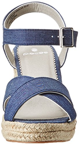 Pieces Pshalloumi Espadrillos Cross, Espadrilles femme Bleu (Dark Blue Denim)