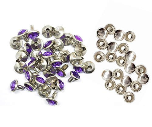 Weddecor 10x 8mm, Farbe: ab, Acryl mit Strass mit Zubehör für Rivet Nieten, Leder, zum Basteln, Designer-Gürtel, Kleidung, Taschen, Hunde-Halsbänder, metall, violett, 50 (Acryl Strass Designer)