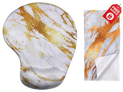 Gold Streak Marmor ergonomische Design-Mauspad mit Handgelenkstütze. Gel Handauflage. Passendes Mikrofaser-Reinigungstuch. Mauspad für Laptop, PC und Mac.