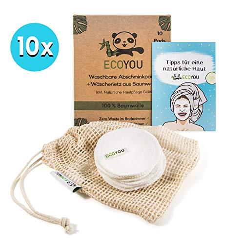 EcoYou Waschbare Abschminkpads aus BIO-Baumwolle ♻ Wiederverwendbare Wattepads 10 STÜCK ♻ Nachhaltige Gesichtspflege für Frauen Inkl. DIY REZEPTE und Baumwoll-Wäschenetz